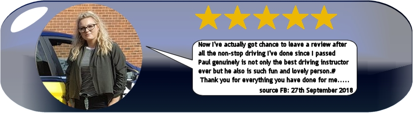5 Star Review of Paul's 5 Star Driving Tuition