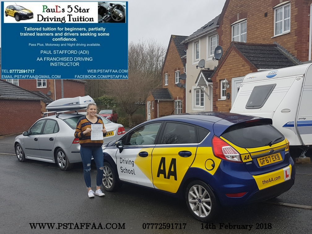 Driving Test Pass for Agata Witkowska with Paul's 5 Star Driving Tuition in Hereford