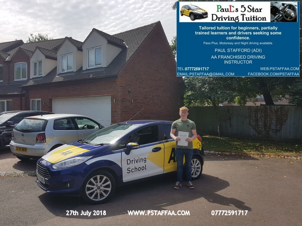 Ben Chandler Highnam first time driving test pass in hereford witrh Paul's 5 Star driving Tuition