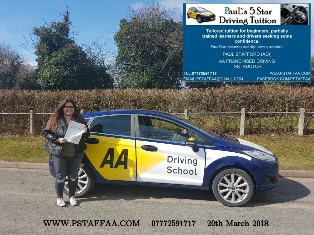 First Time Driving Test Pass Belinda Lopez with Paul's 5 Star Driving Tuition