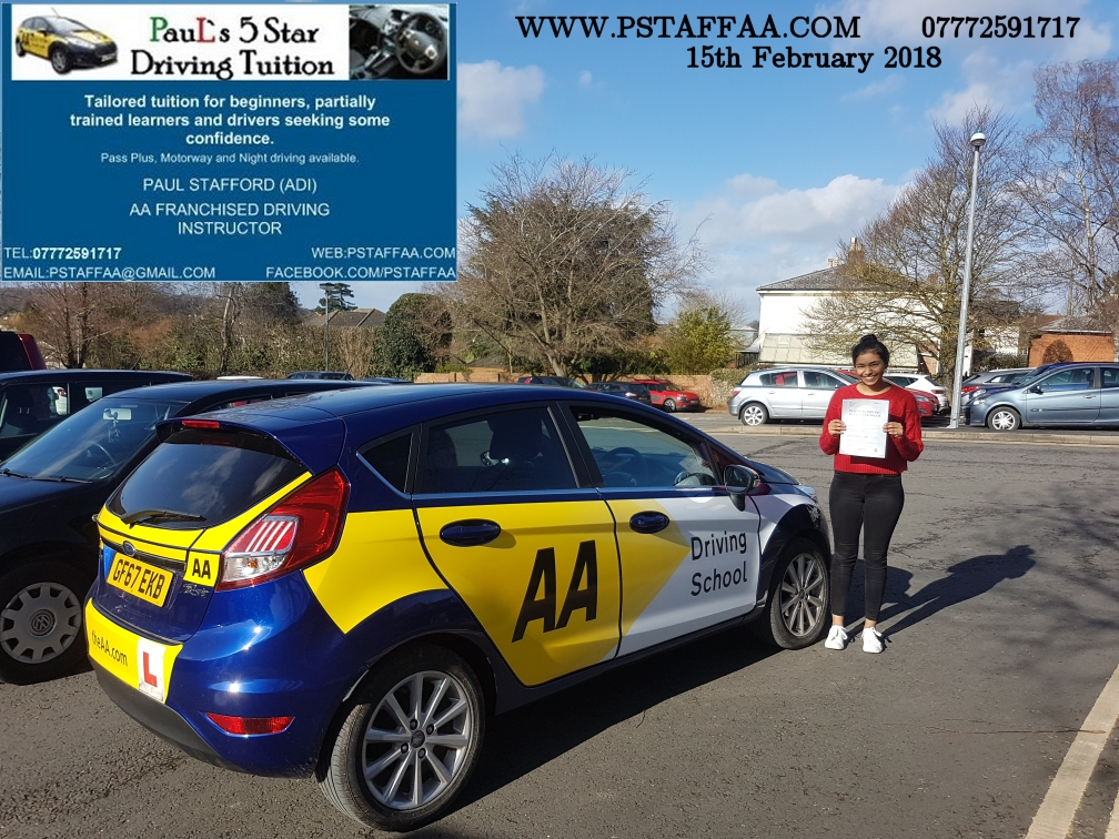 Driving Test Pass for Crystal Badesha with Paul's 5 Star Driving Tuition in Hereford