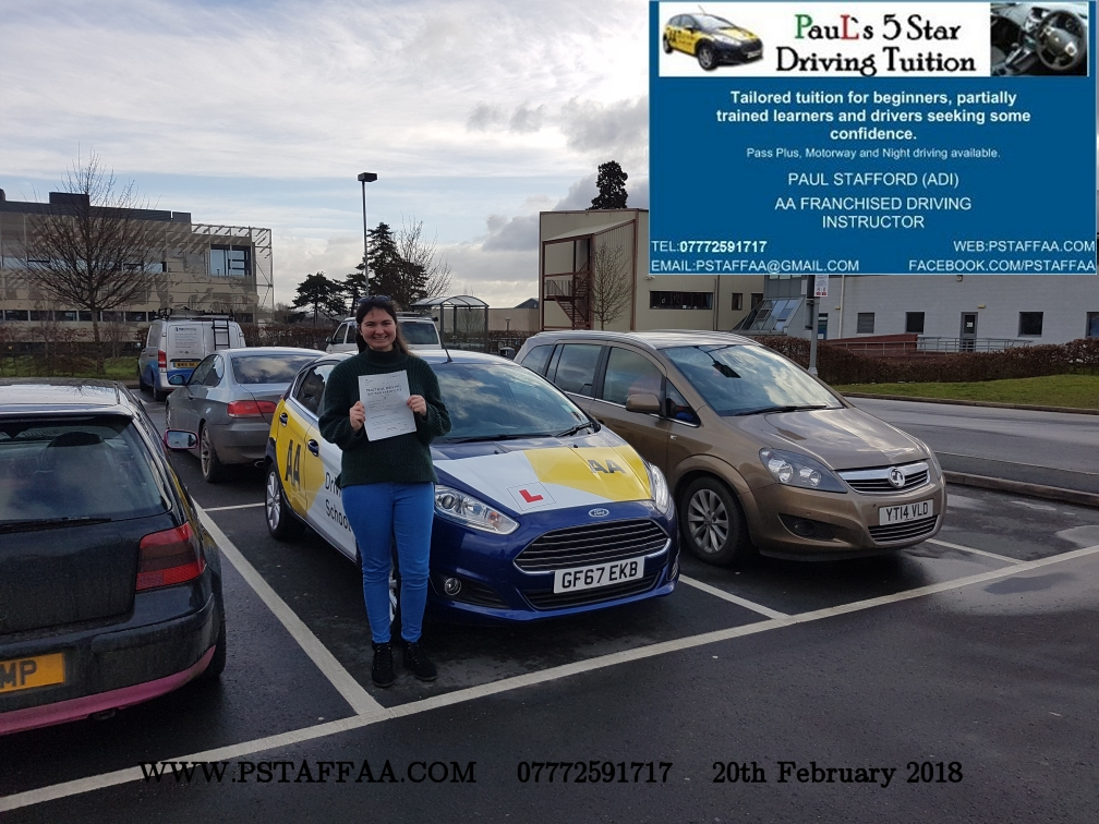 First Time Driving Test Pass Charlotte Bridges with Paul's 5 Star Driving Tuition