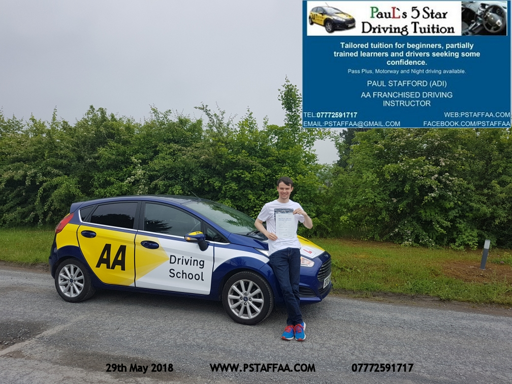 Driving Test Pass for Ethan Gibbs with Paul's 5 Star Driving Tuition