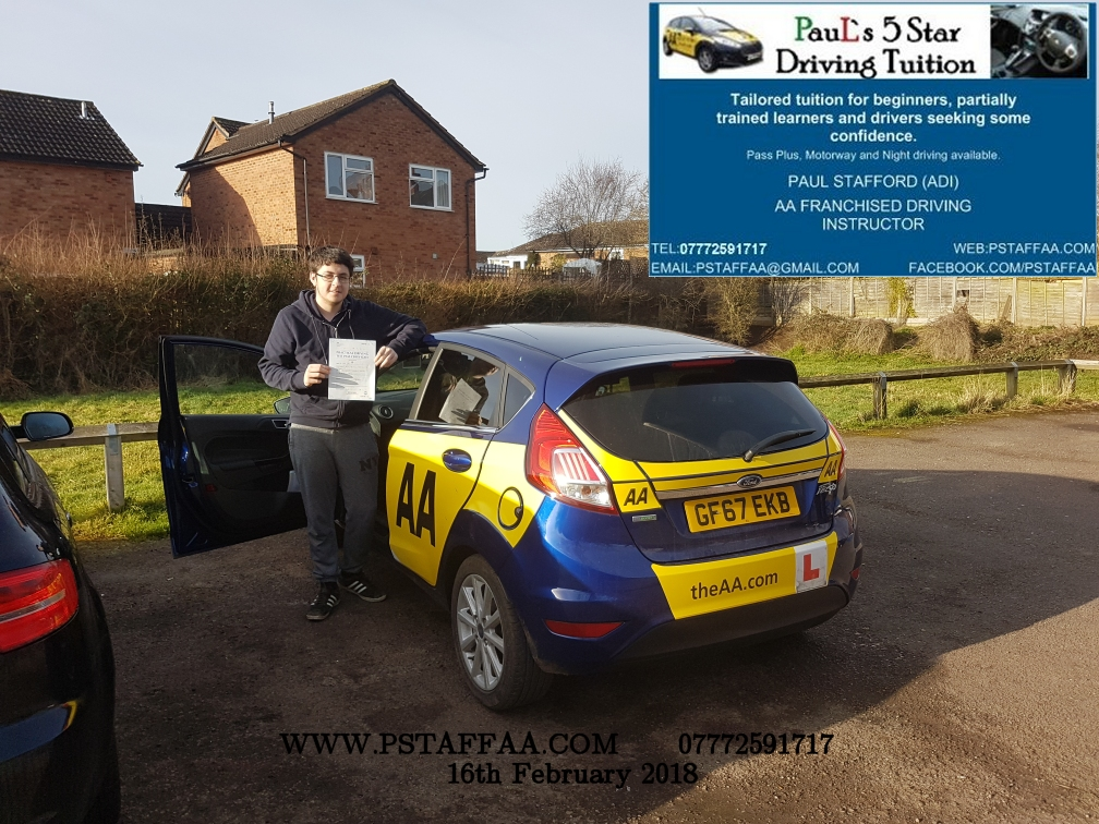 Driving Test Pass for Ewan Taylor with Paul's 5 Star Driving Tuition in Hereford
