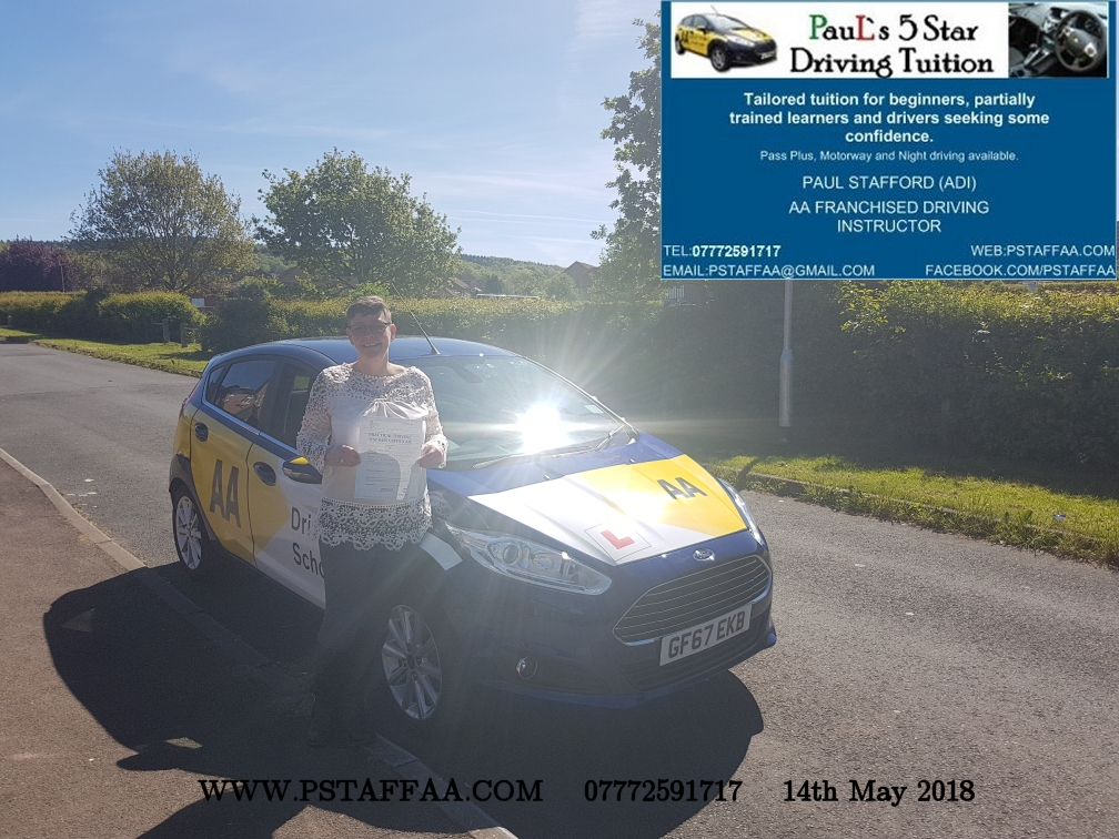 Driving Test Pass for Helen Sparks with Paul's 5 Star Driving Tuition in Hereford
