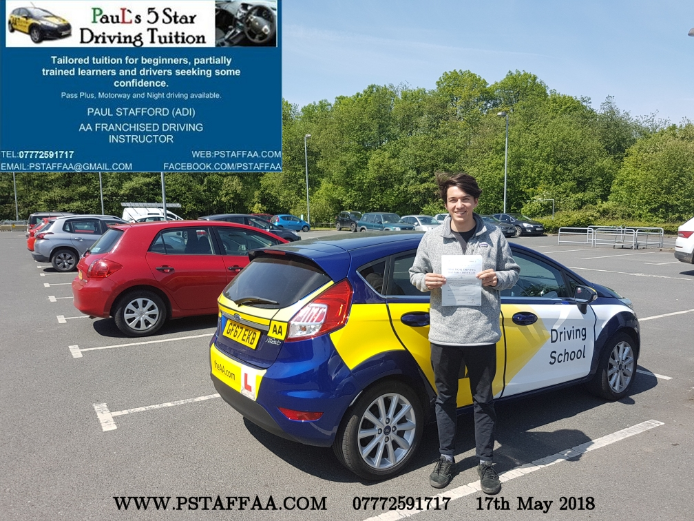 First Time Driving Test Pass Harry Walker with Paul's 5 Star Driving Tuition