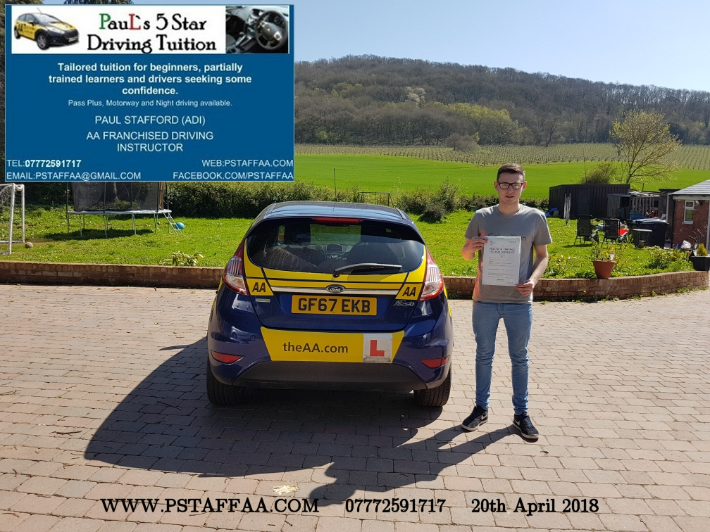 First Time Driving Test Pass Jack Adams with Paul's 5 Star Driving Tuition