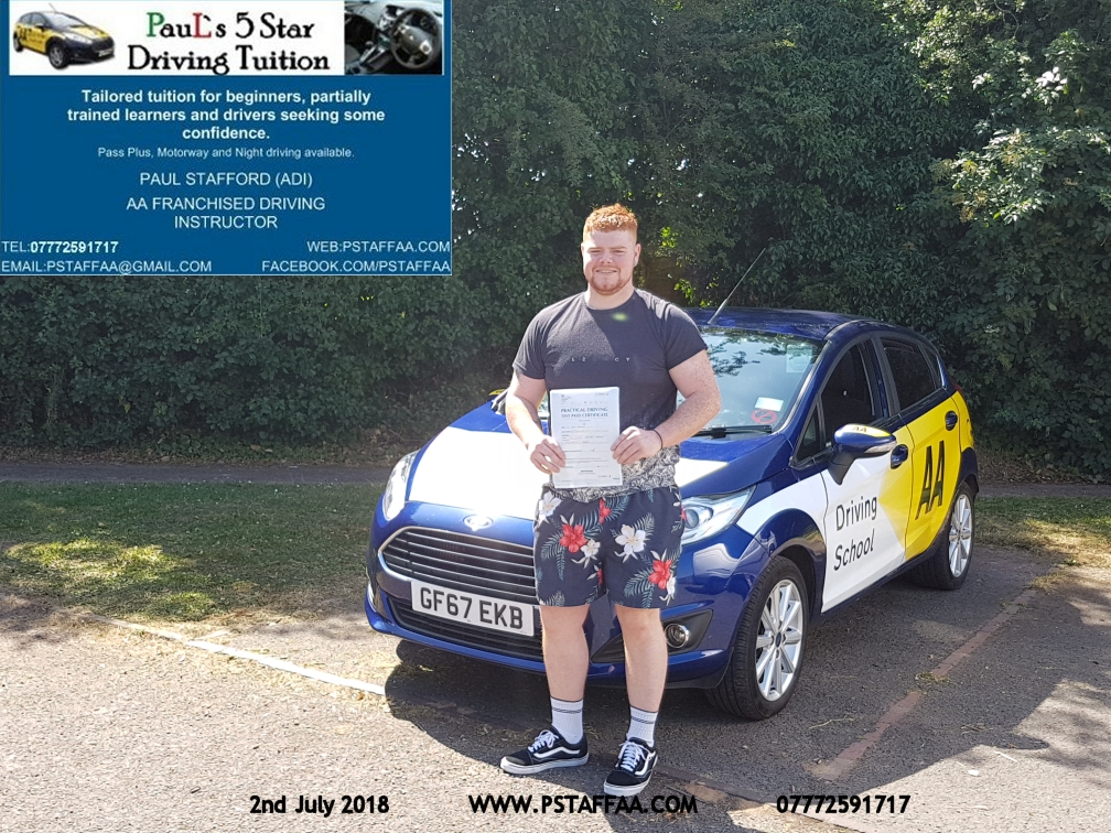 Jake Bramley Ledbury first time driving test pass in hereford witrh Paul's 5 Star driving Tuition