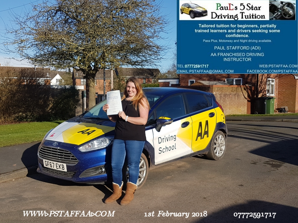First time Test Pass Pupil Jade Greenaway with Paul's 5 star driving tuition in hereford 12th January 2018