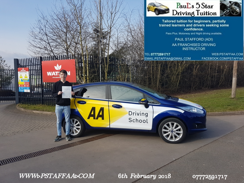 First time Test Pass Pupil Jamie Halford with Paul's 5 star driving tuition in hereford 12th January 2018