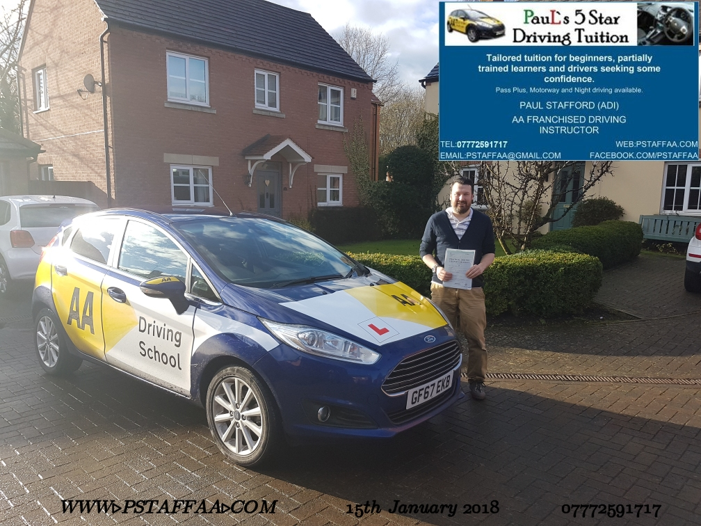 Test Pass Pupil John Hall with Paul's 5 star driving tuition in hereford 12th January 2018