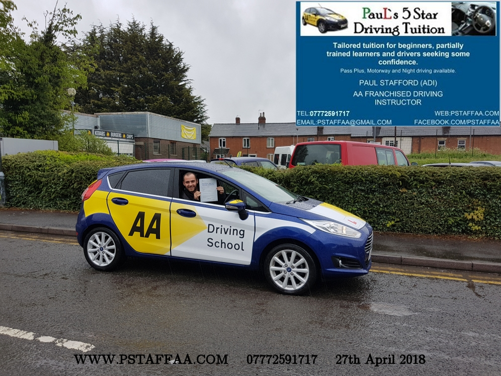 First Time Driving Test Pass Pavlin with Paul's 5 Star Driving Tuition