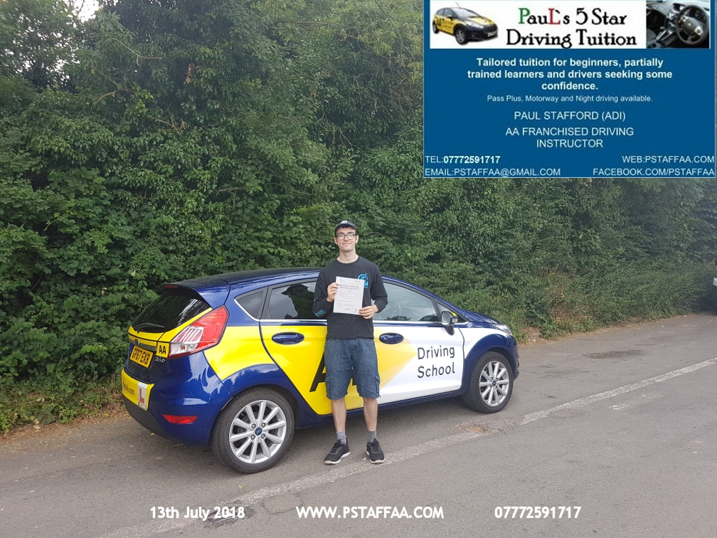 Pez Slinger Ledbury first time driving test pass in hereford witrh Paul's 5 Star driving Tuition
