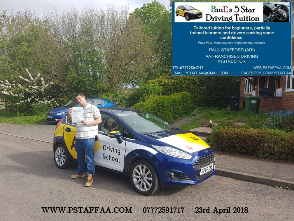 First Time Driving Test Pass Scotty Newman with Paul's 5 Star Driving Tuition