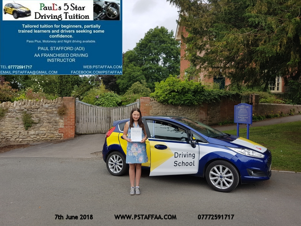 Sophie waller ledbury driving test pass with paul's 5 star driving tuition in hereford