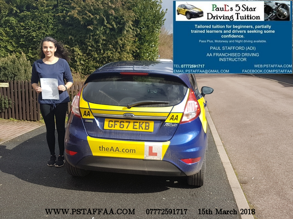 First Time Driving Test Pass Teeana Clueit with Paul's 5 Star Driving Tuition