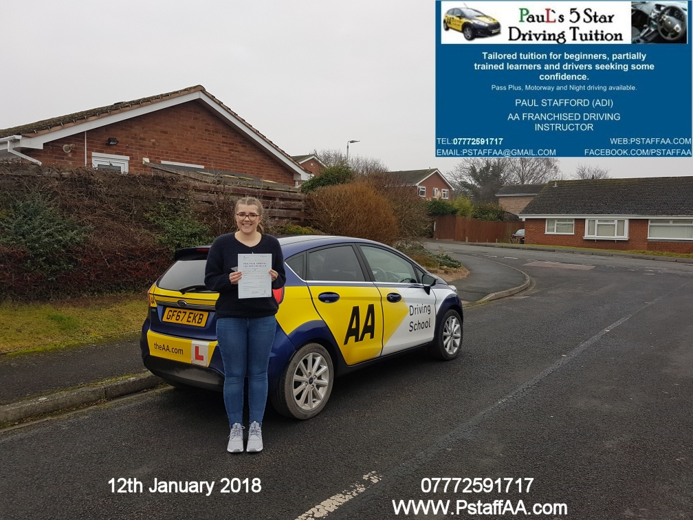 Test Pass Pupil Thewa Hodgson with Paul's 5 star driving tuition in hereford 12th January 2018