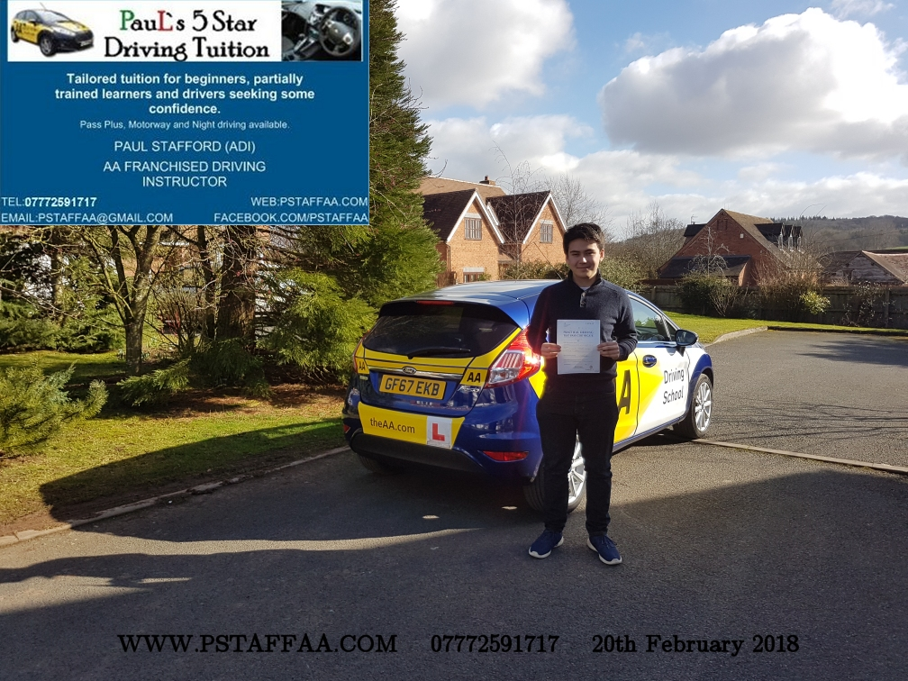 First Time Driving Test Pass William Hayden with Paul's 5 Star Driving Tuition