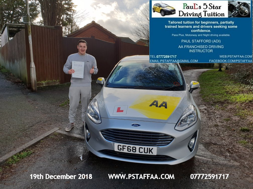 First Time Driving Test Pass for Adam Davis with Paul's 5 Star Driving Tuition