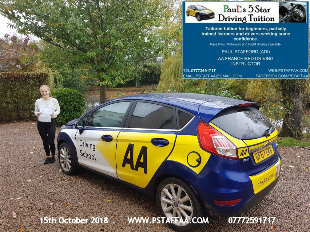 First Time Driving Test Pass for Alice Miller with Paul's 5 Star Driving Tuition