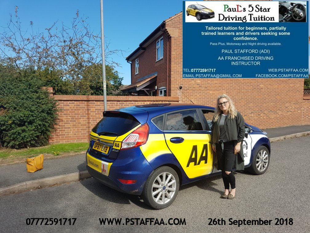 Emma Parsons first time driving test pass in hereford witrh Paul's 5 Star driving Tuition