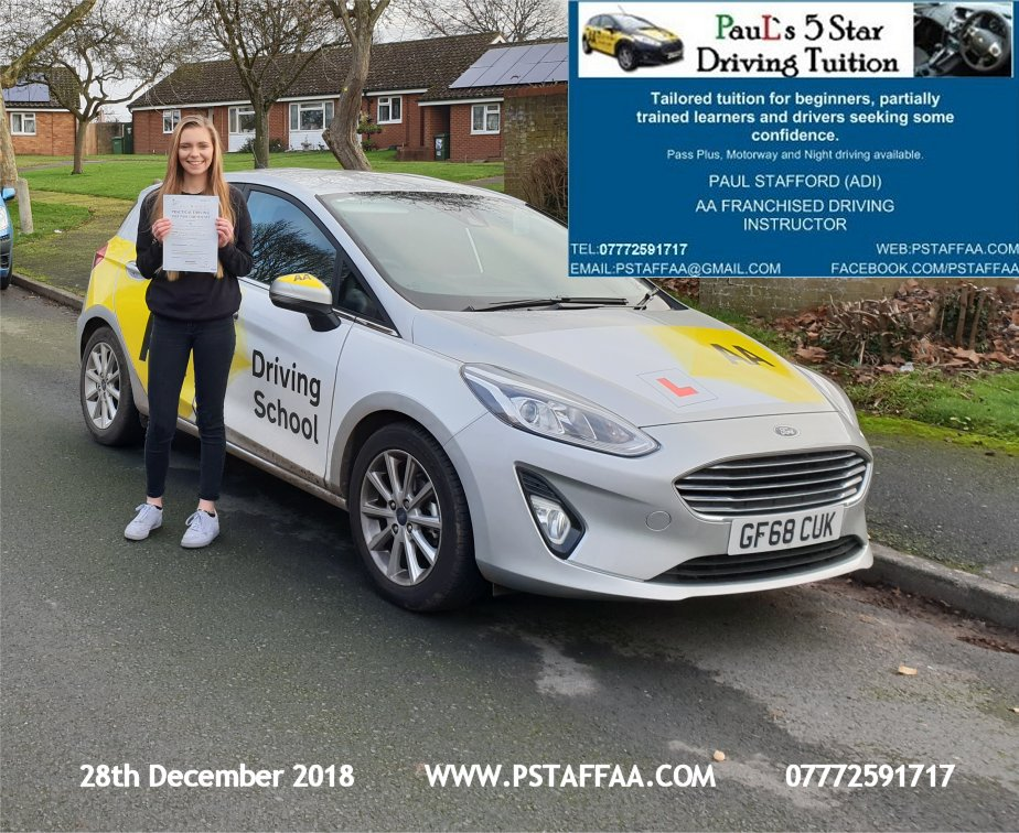 First Time Driving Test Pass for Freya Jones with Paul's 5 Star Driving Tuition