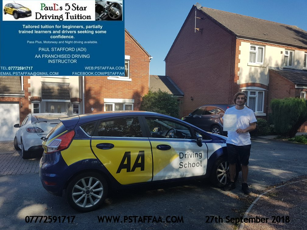 Liam Conway first time driving test pass in hereford witrh Paul's 5 Star driving Tuition