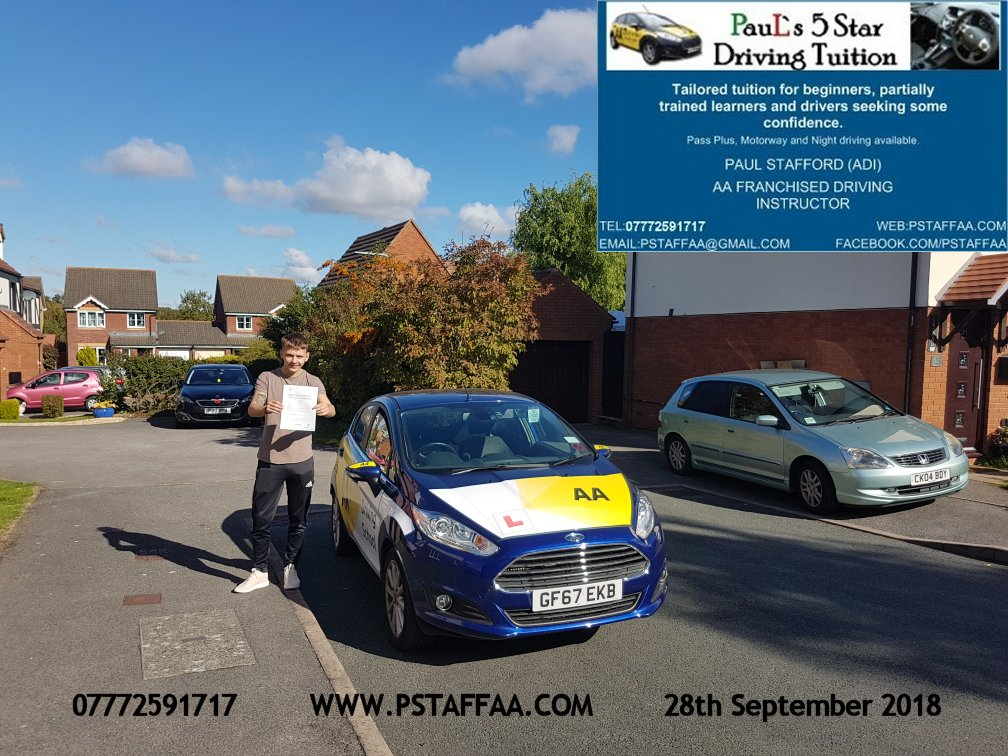 Ryan Bounds first time driving test pass in hereford witrh Paul's 5 Star driving Tuition