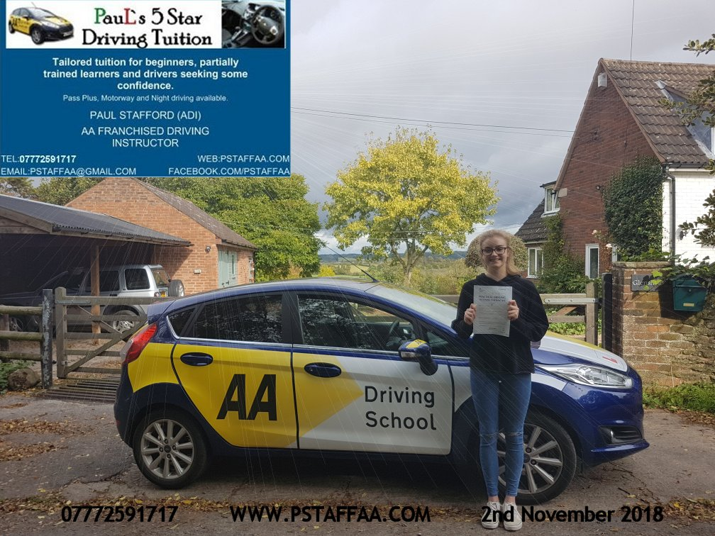 Talesha Hunt first time driving test pass in hereford witrh Paul's 5 Star driving Tuition