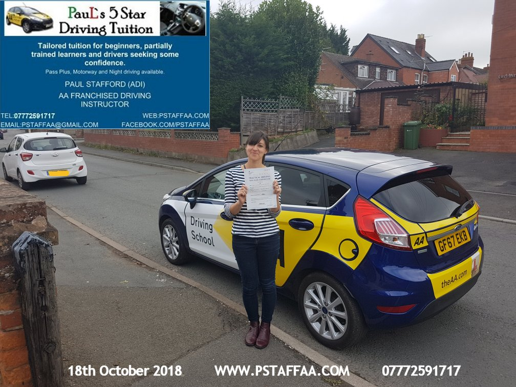 First Time Driving Test Pass for Victoria Palmer with Paul's 5 Star Driving Tuition