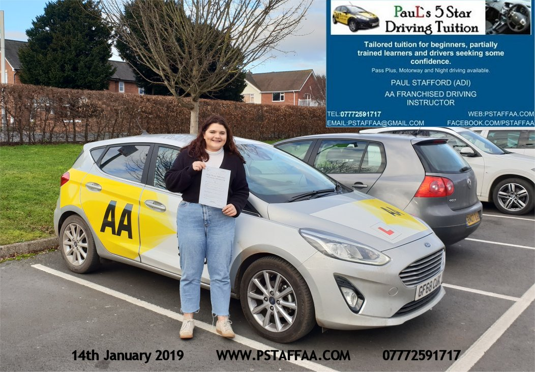 First Time Driving Test Pass for Charlotte Phillips with Paul's 5 Star Driving Tuition