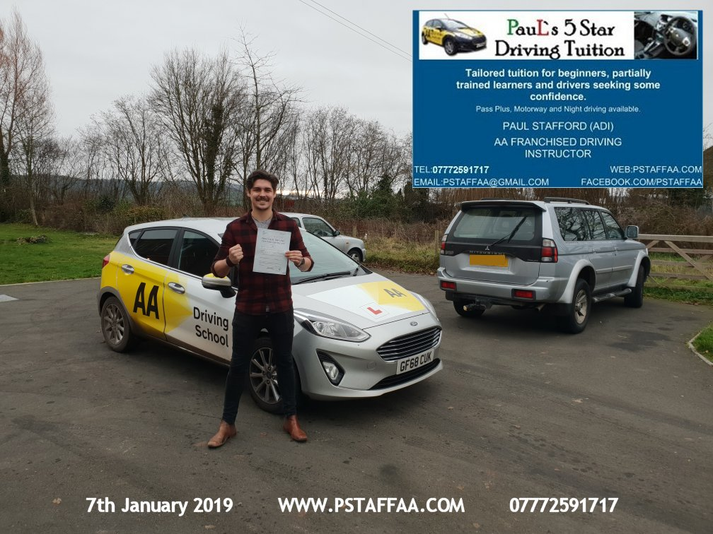 First Time Driving Test Pass for Harry Griffiths with Paul's 5 Star Driving Tuition