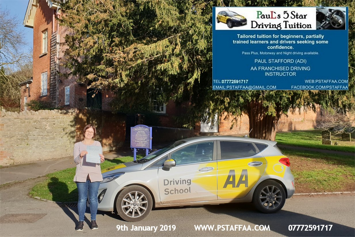 First Time Driving Test Pass for Jackie Welch with Paul's 5 Star Driving Tuition