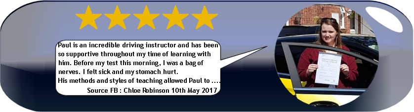 5 star review by chloe robinsoin of pauls 5 star driving tuition