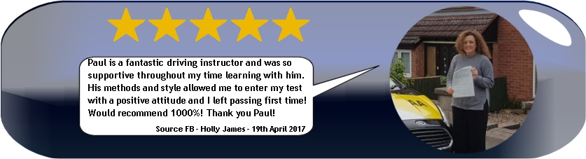 5 star review from holly james of pauls 5 star driving tuition