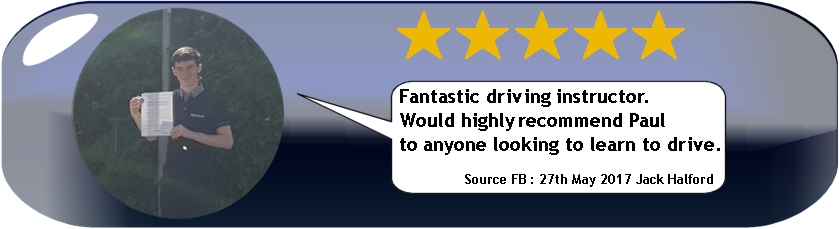 5 star review of pauls 5 star driving tuition by Jack halford