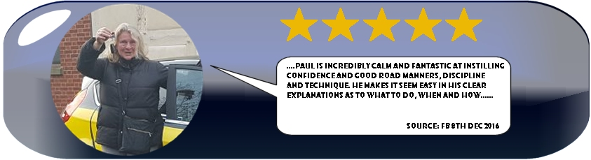 Kerstin Ingham 5 Star Review of Paul's 5 Star Driving Tuition 8th december 2016