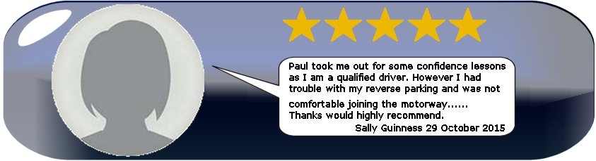 Review of Paul's 5 Star Driving Tuition from Test Pass Pupil Sally Guinness