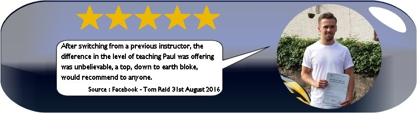 5 Star review of Paul's 5 Star Driving Tuition by Tom Reid August 5th 2016