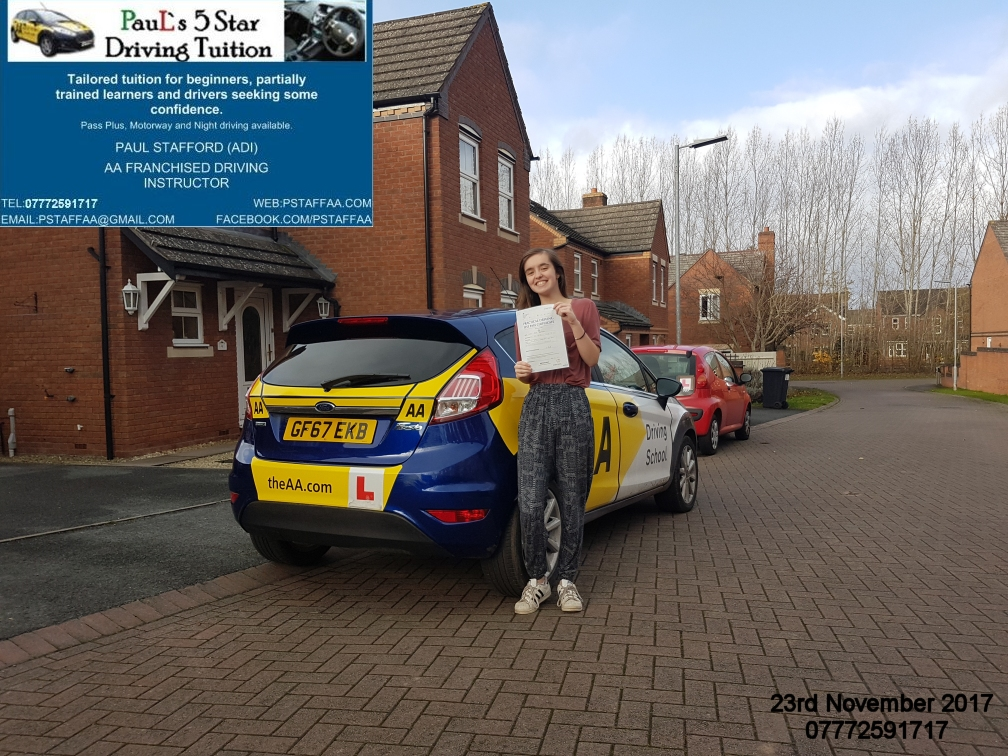 Driving Test Pass Amy Glasper with Pauls 5 Star Driving Tuition