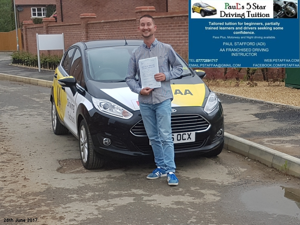 First Time Test Pass Pupil Daniel Campbell with Paul's 5 Star Driving Tuition