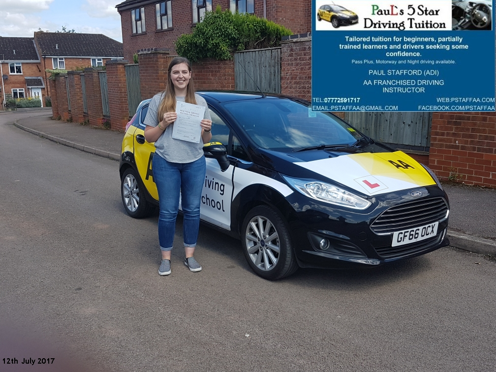 First Time Test Pass Pupil Ellen Kerr with Paul's 5 Star Driving Tuition