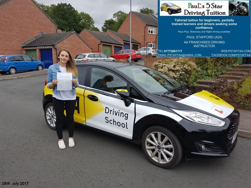 First Time Driving Test Pass Pupil Emily Phillips with Pauls 5 star driving tuition