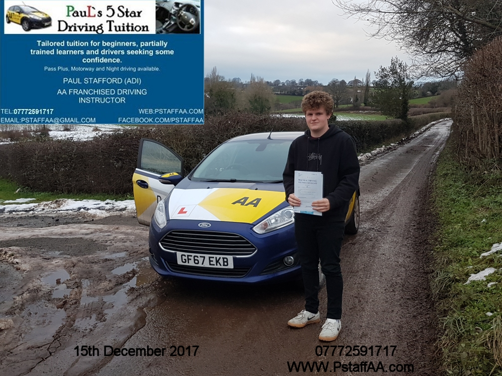 Driving Test Pass Henry Northover with Pauls 5 Star Driving Tuition