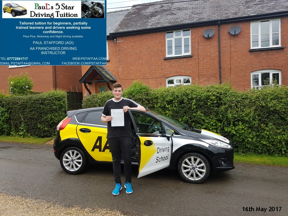 First time test pass pupil Jack Badham with Pauls 5 star driving tuition in hereford