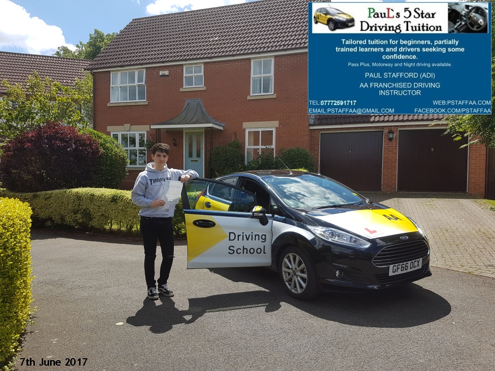 First time test pass pupil James Hale with Pauls 5 star driving tuition in hereford