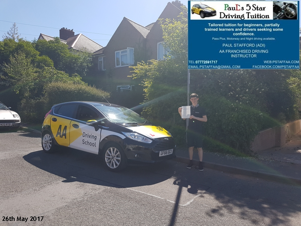 test pass pupil Jack Halford with Pauls 5 star driving tuition in hereford