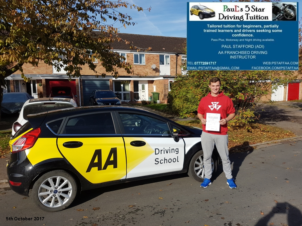 First time test pass pupil jake mathias with paul;s 5 star driving tuition
