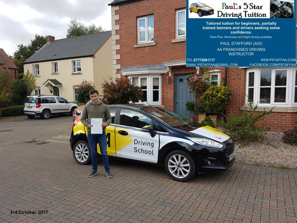 First time test pass pupil keelan with paul;s 5 star driving tuition