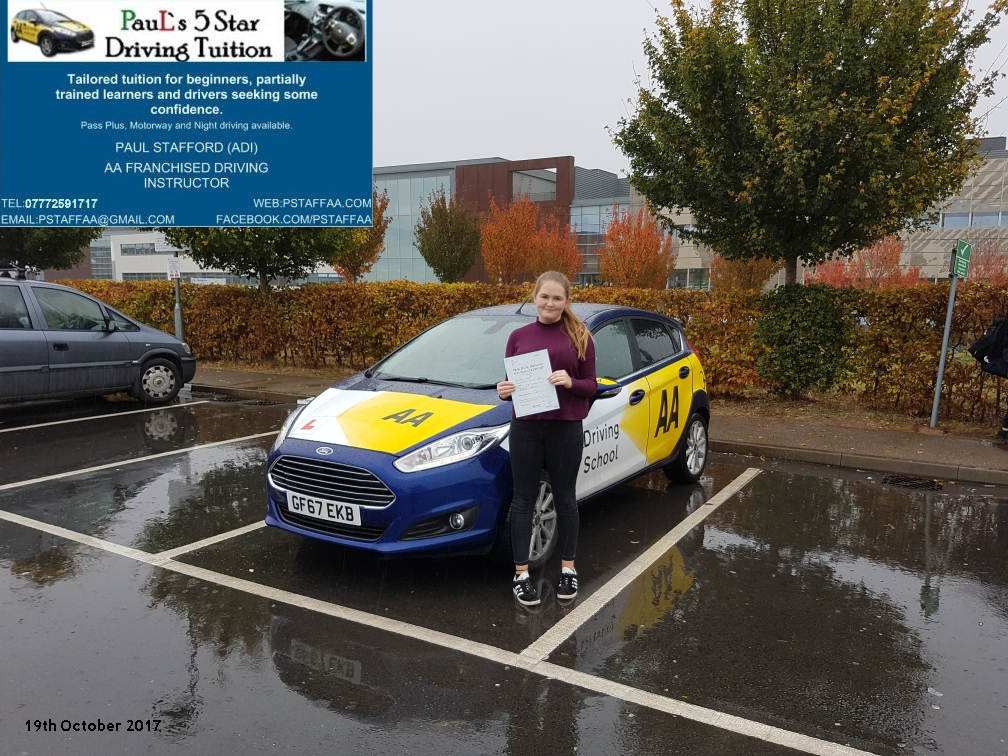 First time test pass pupil libby sykes with paul;s 5 star driving tuition